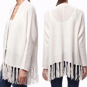 360 Cashmere ivory fringe tassel cardigan sweater